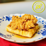 Fried Jackfruit mimics a piece of fried chicken on a vegan waffle with organic maple syrup.