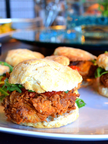 Crispy fried chicken breast on a homemade biscuit